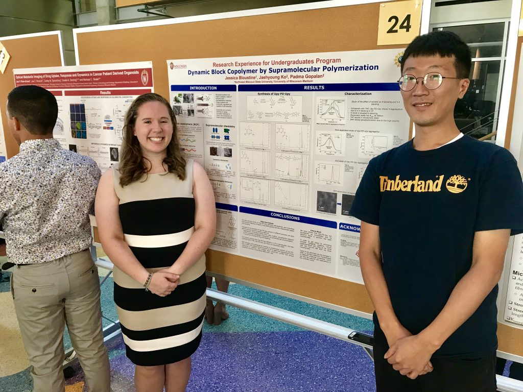 REU Students Jessica Bloustine Presenting Poster at UW-Madison in July 2019